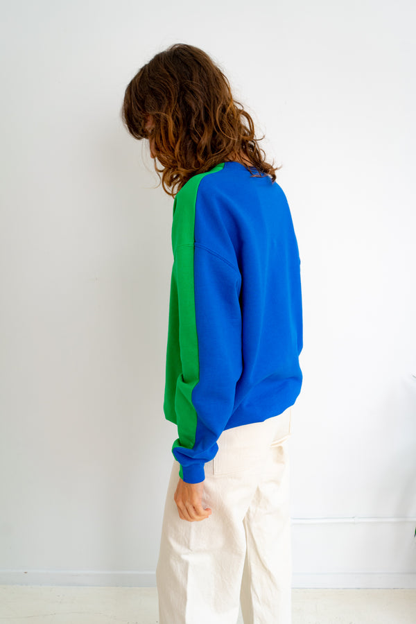 Color Field Sweatshirt- Green and Blue Down the Side
