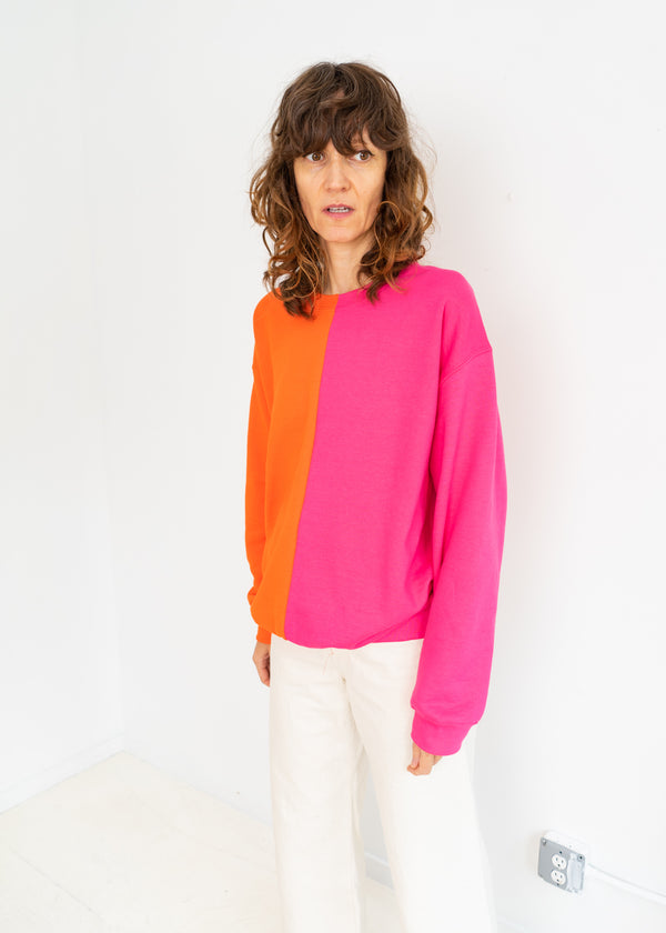 Color Field Sweatshirt- Pink and Orange Down the Center