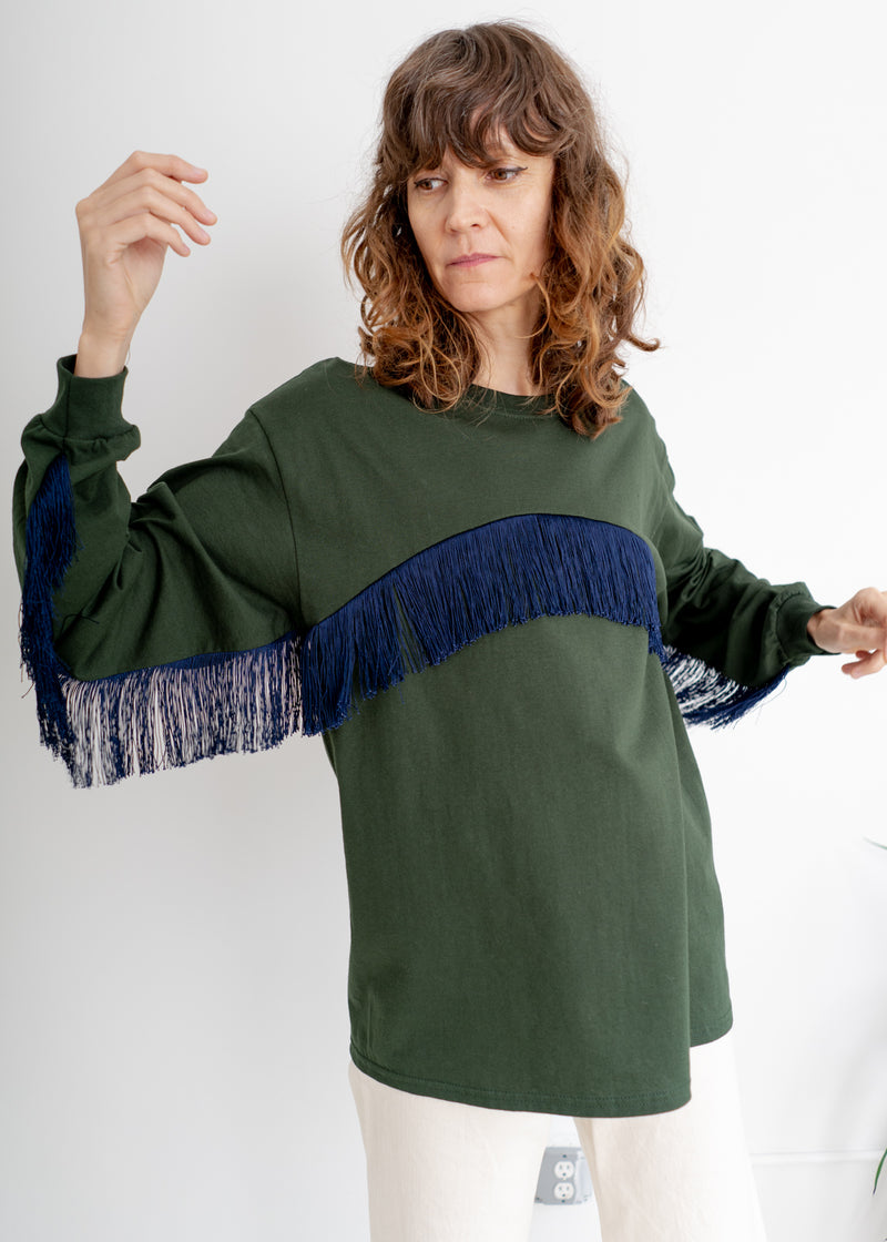 Color Field Crewneck Top- Forest Green with Navy Across Fringe