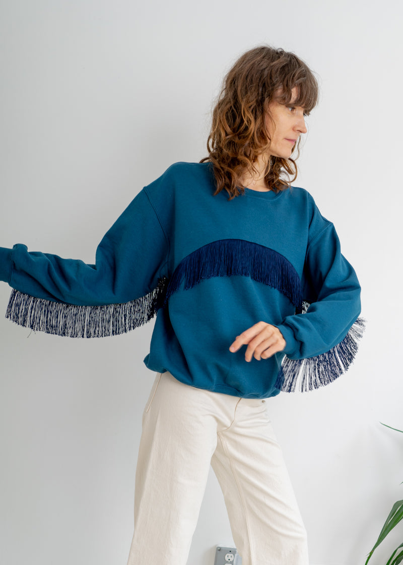 Color Field Sweatshirt- Peacock with Navy Across Fringe