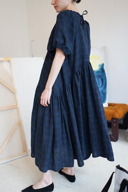 LOLA DRESS- Blue Check Linen