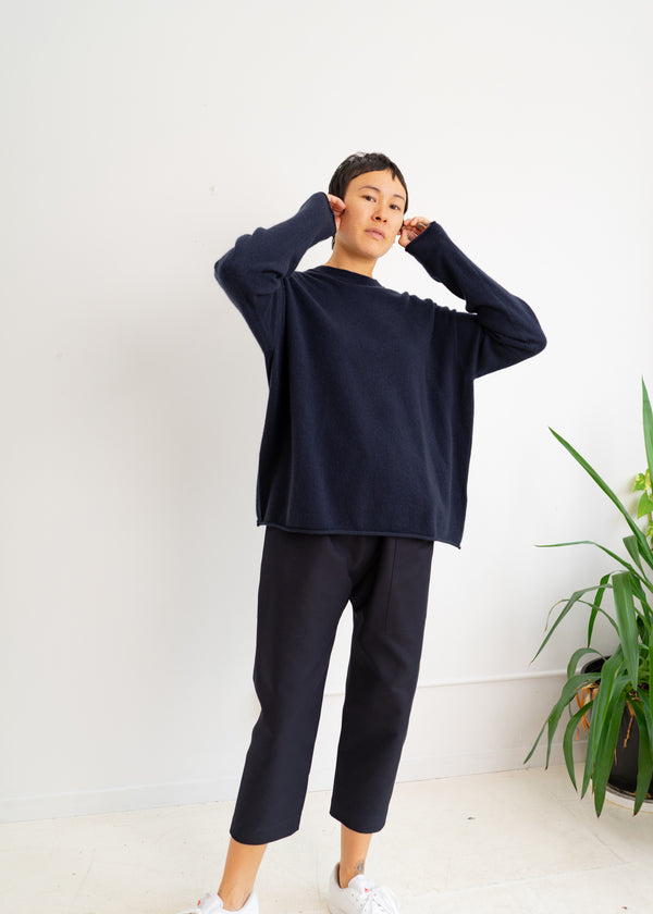 MUNCH CASHMERE SWEATER-Navy