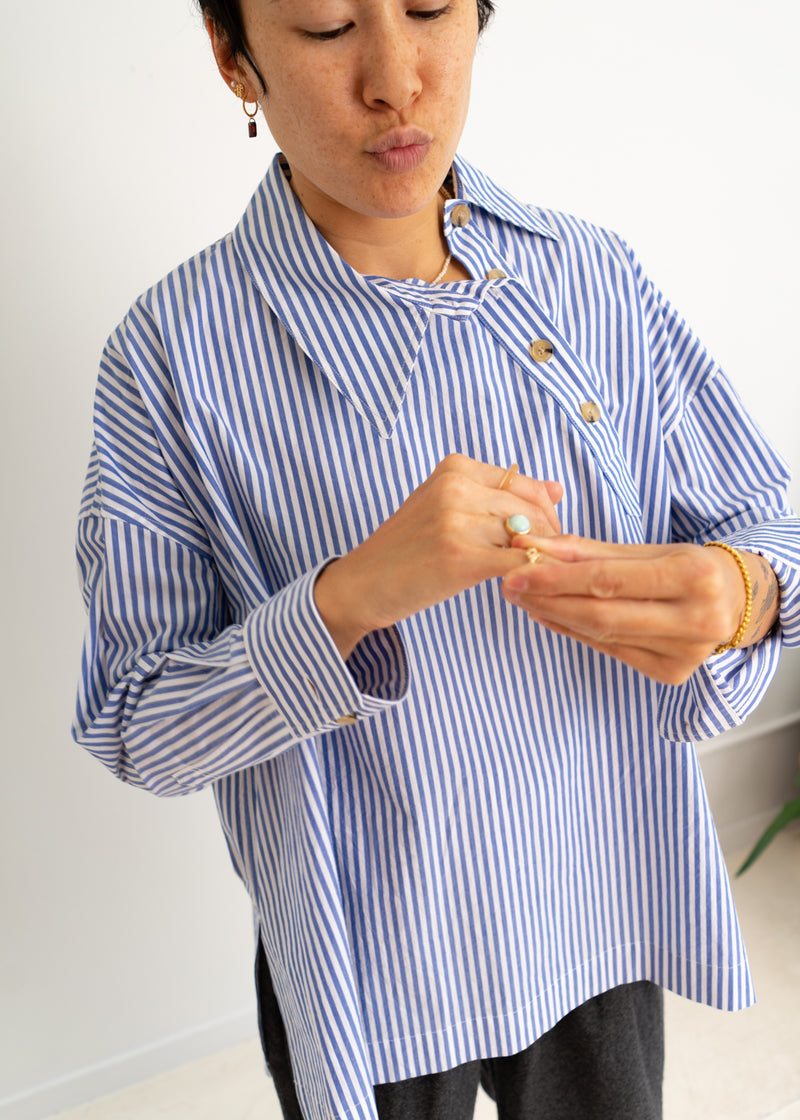 Marl Top- Blue White Stripes