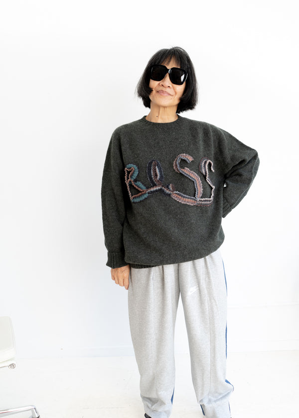 Bless Logo Knit Sweater- Spruce