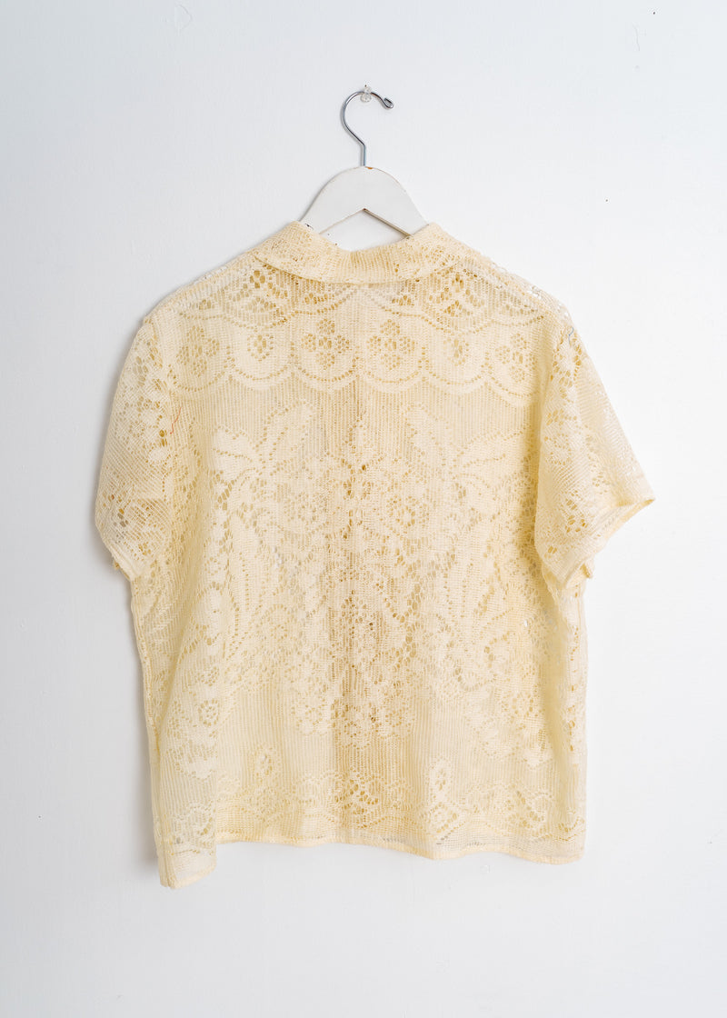 Adult School Boy Top- Delicate Lace Oatmeal