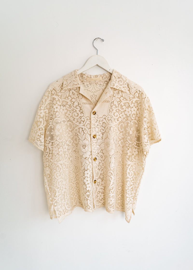Adult School Boy Top- Lace Paisley Off White