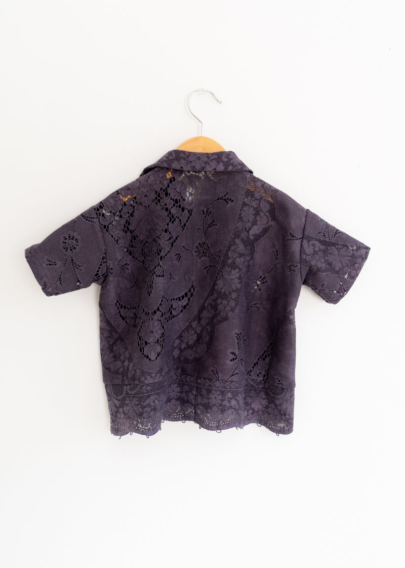 Kids School Boy Shirt- Lace Charcoal