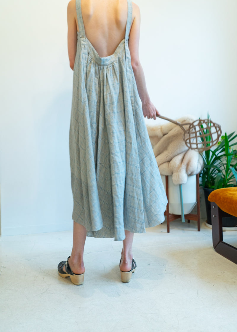 Land Dress- French Check Light Blue