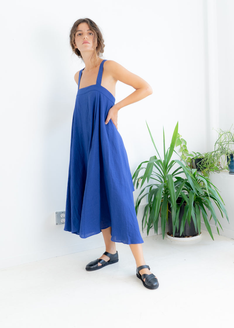 Land Dress- Indigo Linen