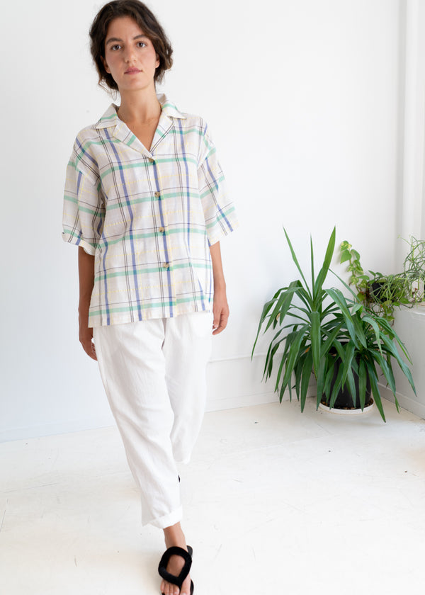 Zen Top- white yellow madras