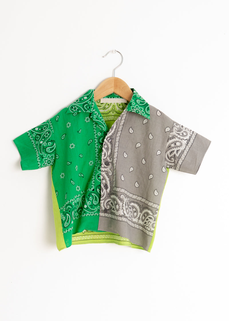 School Boy Shirt- Bandana Green Grey Lime