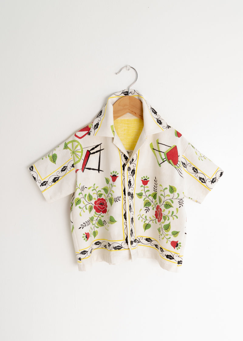 School Boy Shirt- Yellow Floral