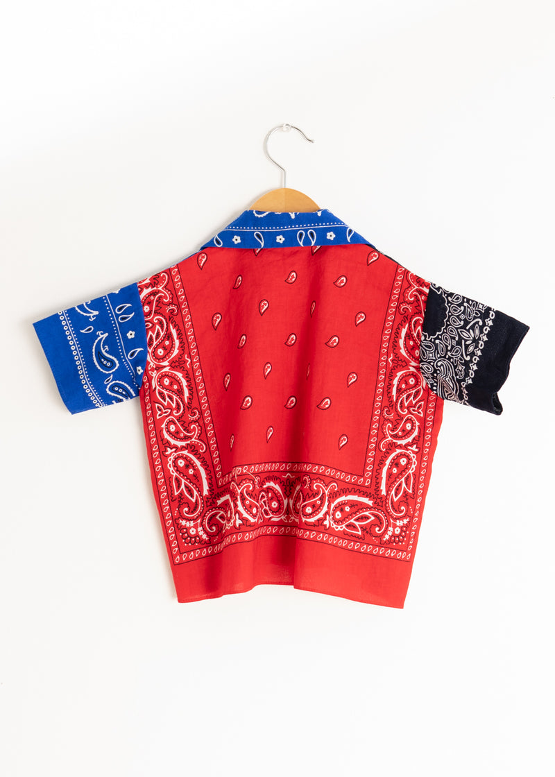 School Boy Shirt- Bandana Blue Black Red