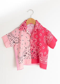 School Boy Shirt- Bandana Pink