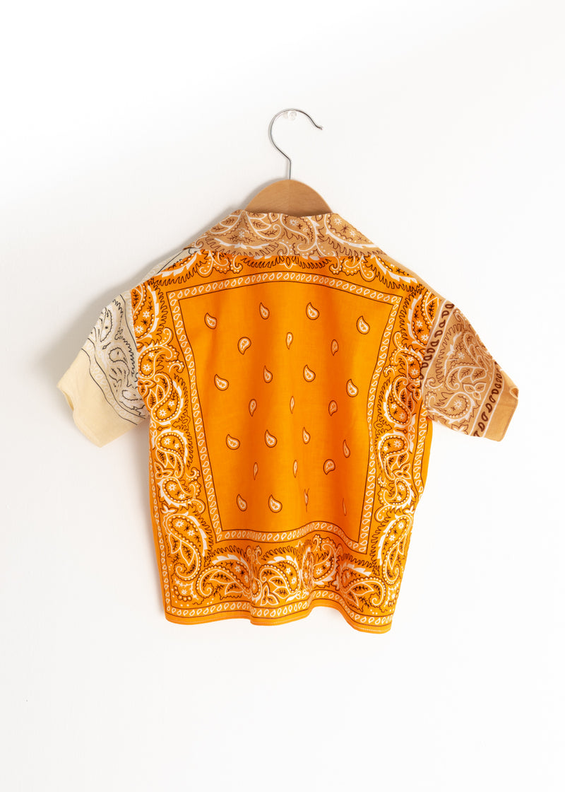 School Boy Shirt- Bandana Beige Orange