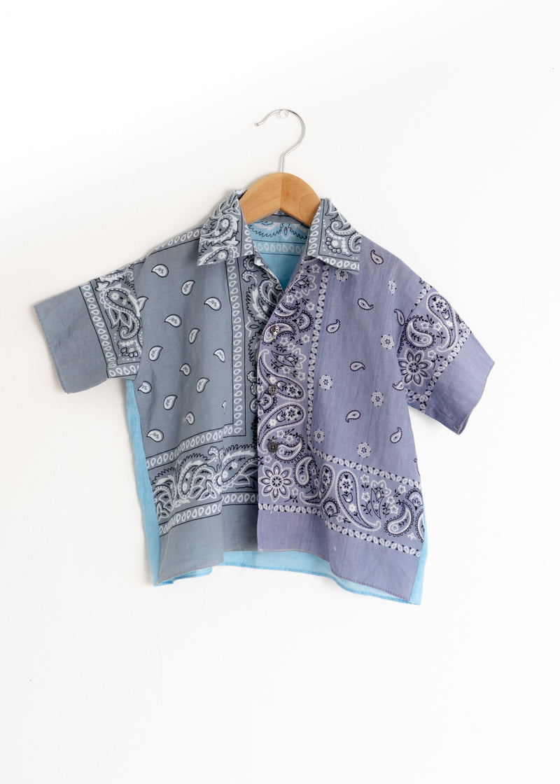 School Boy Shirt- Bandana Grey Lavender Blue