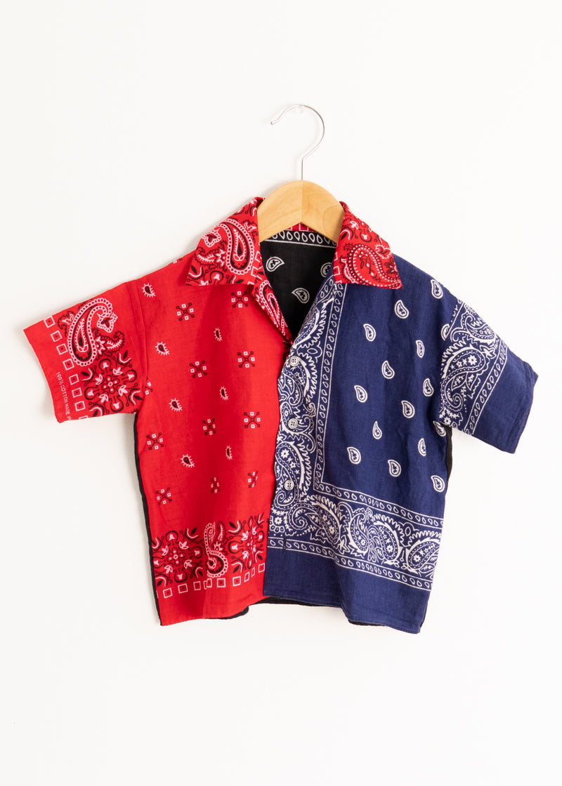 School Boy Shirt- Bandana Reb Blue Black