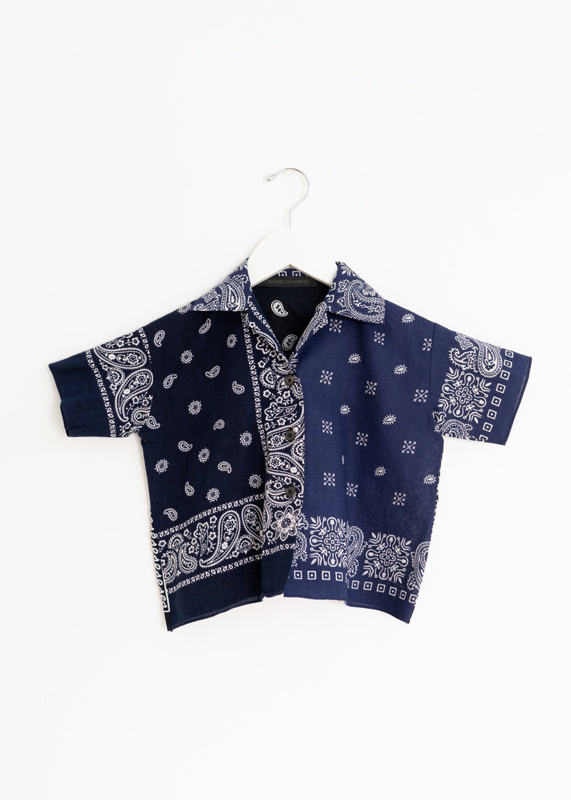 School Boy Shirt- Bandana Black Navy