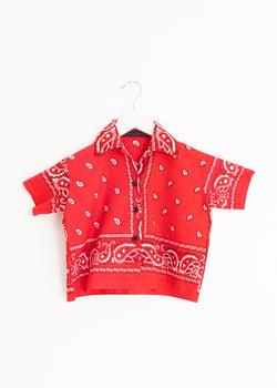 School Boy Shirt- Bandana Red