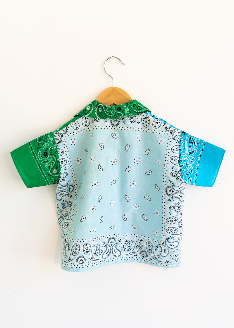 School Boy Shirt- Green Light Blue