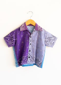 School Boy Shirt- Purple Light Blue