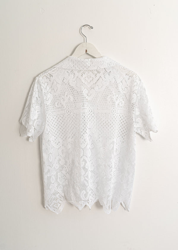 Adult School Boy Top- White Lace