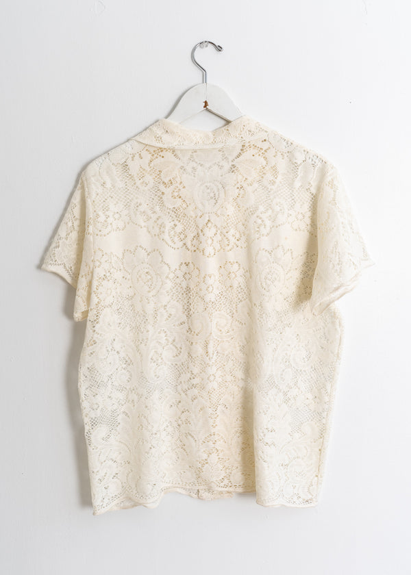 Adult School Boy Top- Lace Ecru Flower