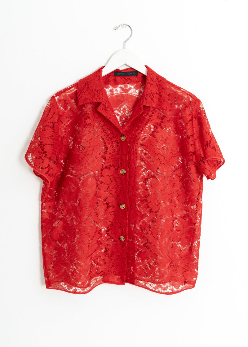 School Boy Top- Red Lace