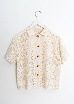 Adult School Boy Top- Lace Ecru Open Flower