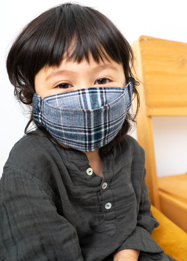 Kids Mask- Navy Plaid Flannel