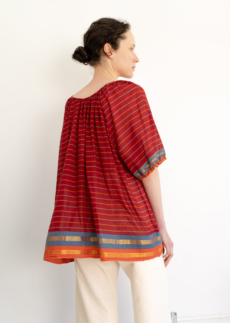 Abney Top- Vintage Saree Burgundy Stripes