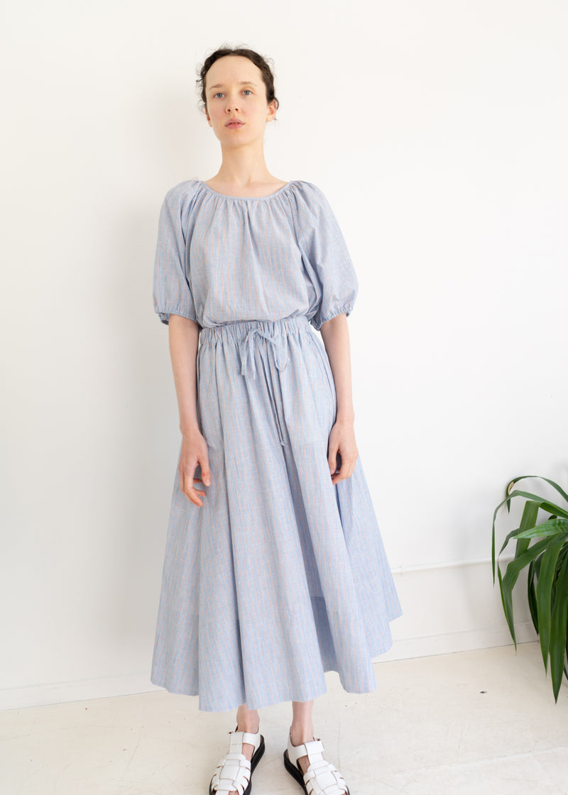 Theo Skirt- Light Blue Cotton Linen Stripes
