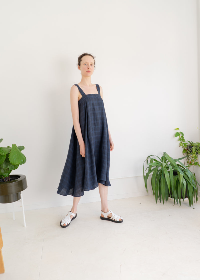 Land Dress- French Check Navy
