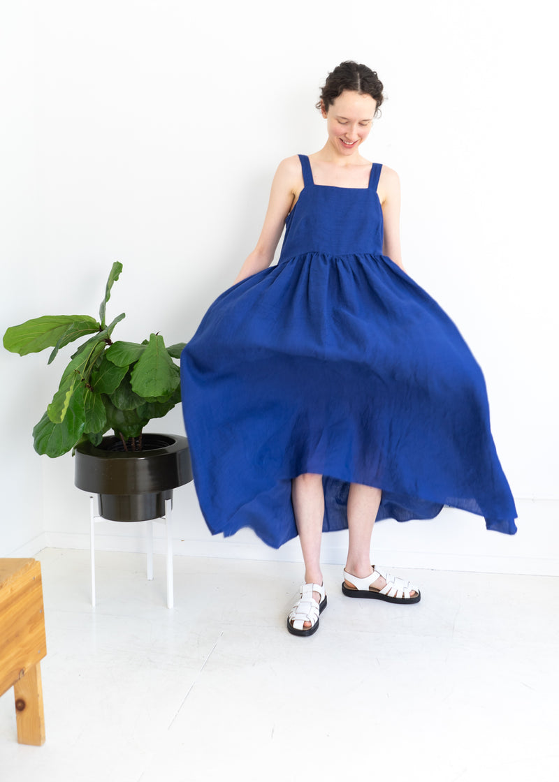 May Dress- Linen Indigo