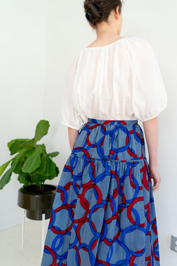 Track Skirt- Ankara Circle Print Blue Red