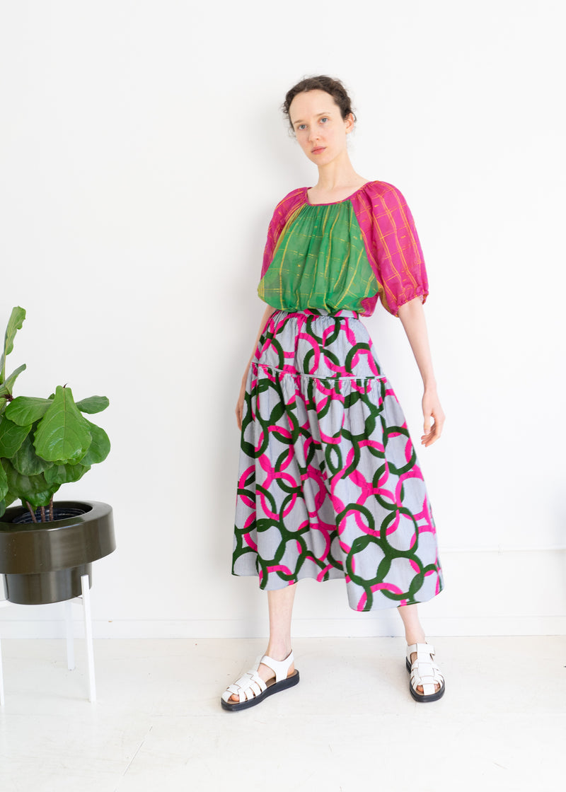 Track Skirt- Ankara Circle Print Pink Green