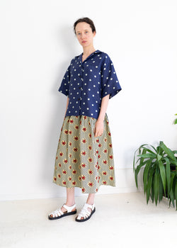 Zen Top- Silk Dot Blue