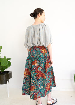 Track Skirt- Ankara Abstract Print Red Turquoise