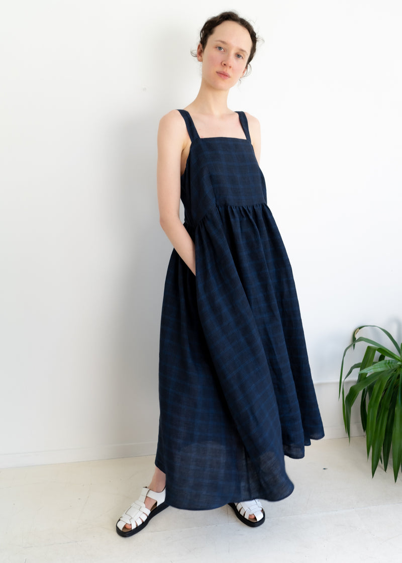 May Dress- Linen Plaid Navy