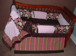 Pink & Brown Carnival Bloom Symmetry Crib Bedding