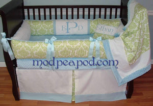Blue & Green Addison Damask Crib Bedding