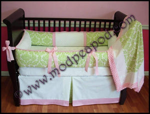 Pink & Green Addison Damask Crib Bedding