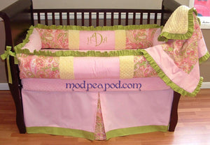 Pink & Green Alana Paisley Crib Bedding~ONE LEFT