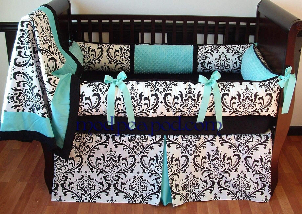 White & Black Damask with Teal Alexandra Crib Bedding