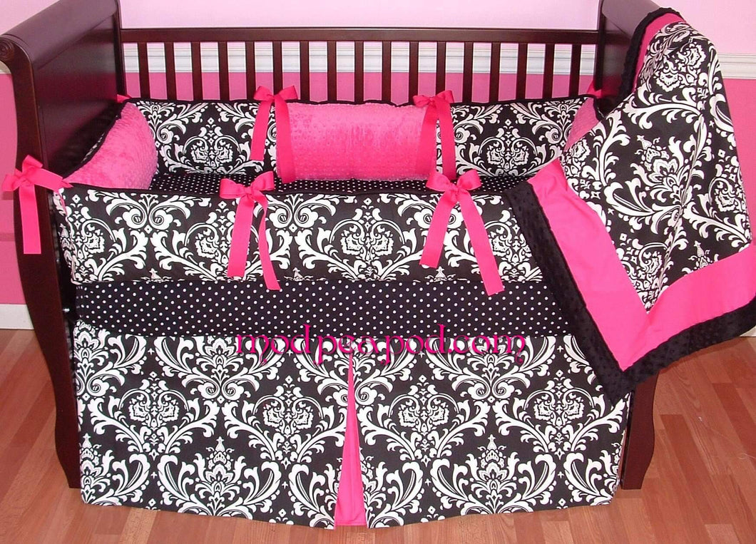 Alexandra Black Damask Baby Bedding
