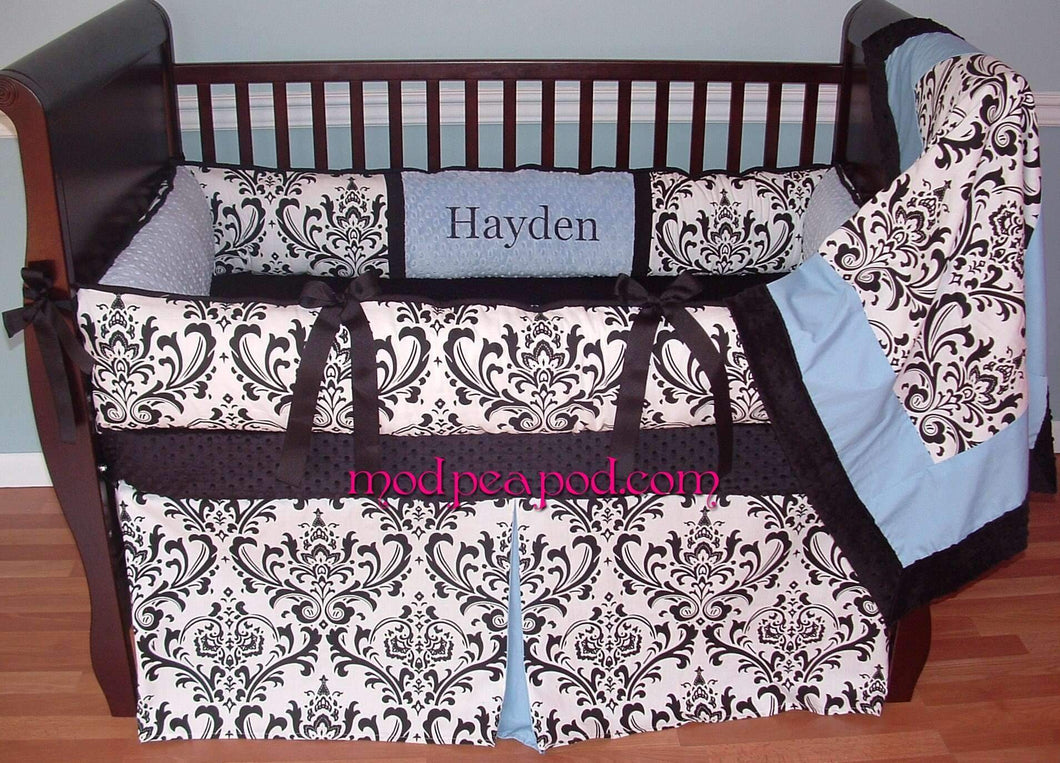 White & Black Damask with Blue Alexandra Crib Bedding