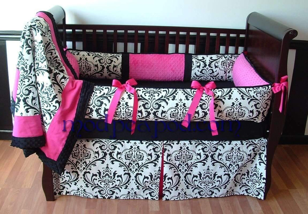 Alexandra Damask Crib Bedding - Can be made in Any Color