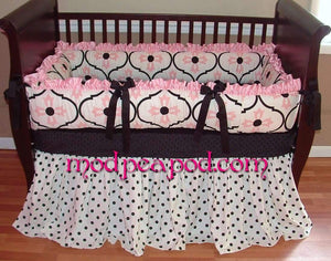 Pink & White Allison Crib Bedding
