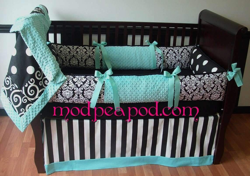 Teal Cartwheel Crib Bedding
