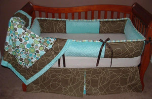 Brown & Aqua Scribbles Crib Bedding